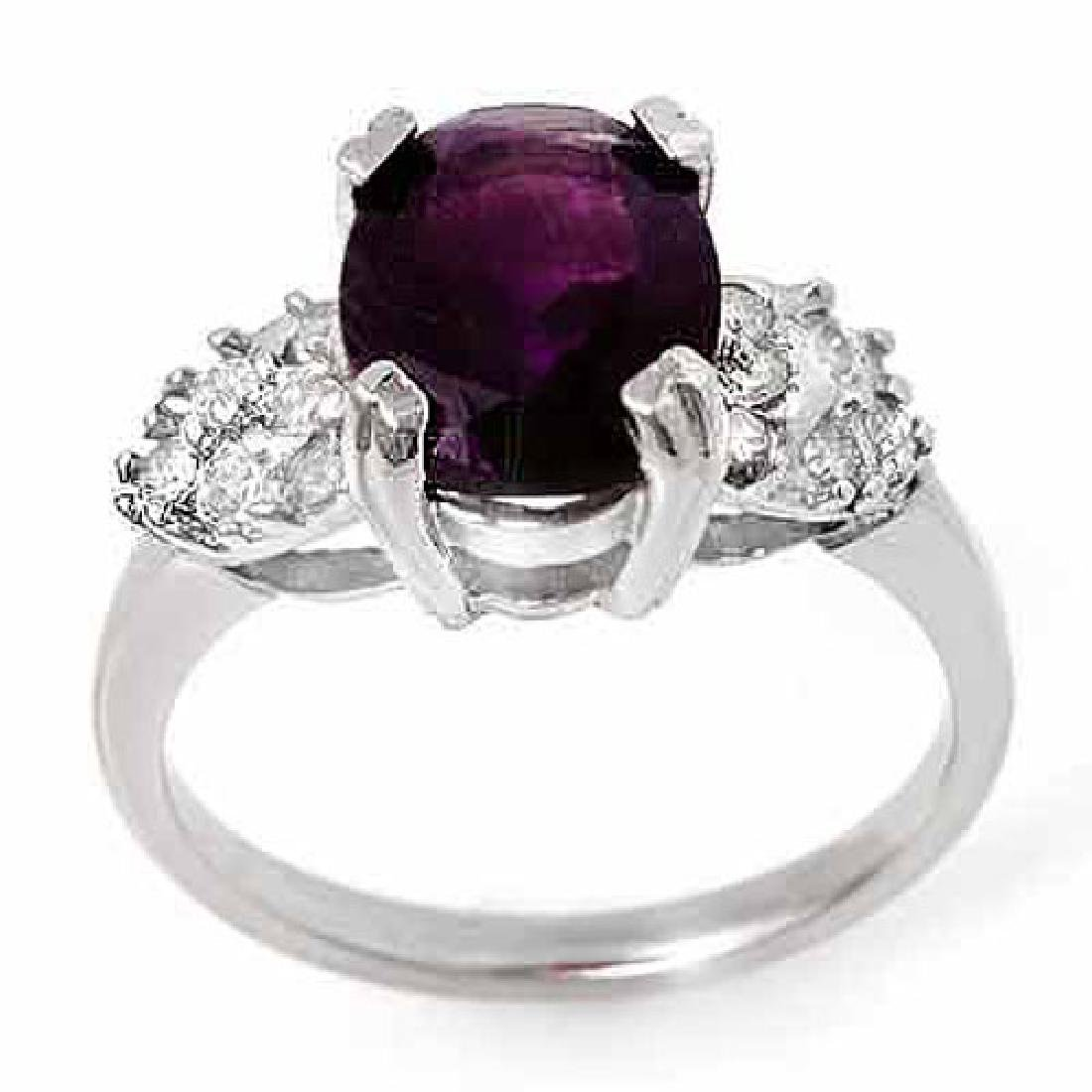 2.65 CTW Amethyst & Diamond Ring 10K White Gold