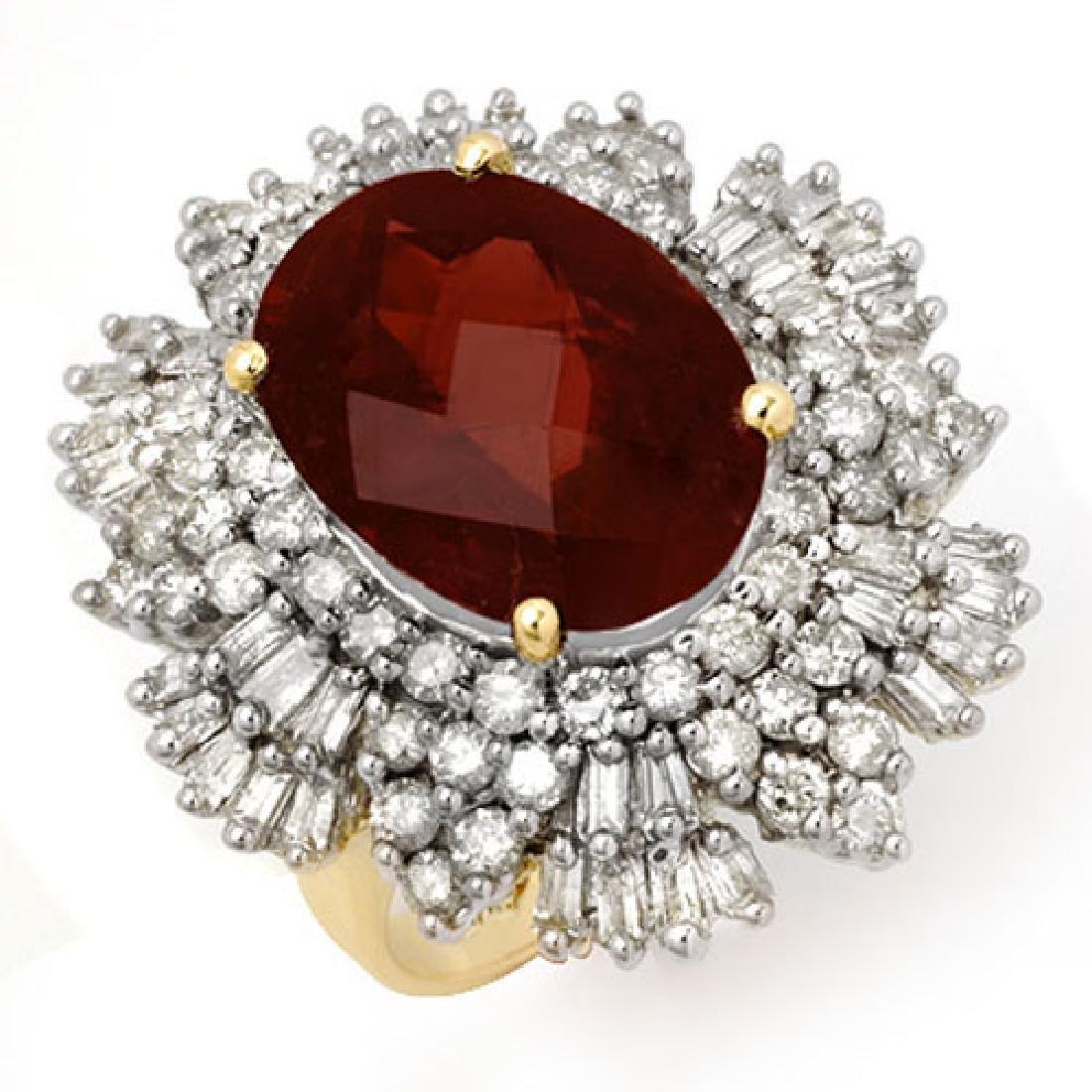 13.25 CTW Pink Tourmaline & Diamond Ring 14K Yellow