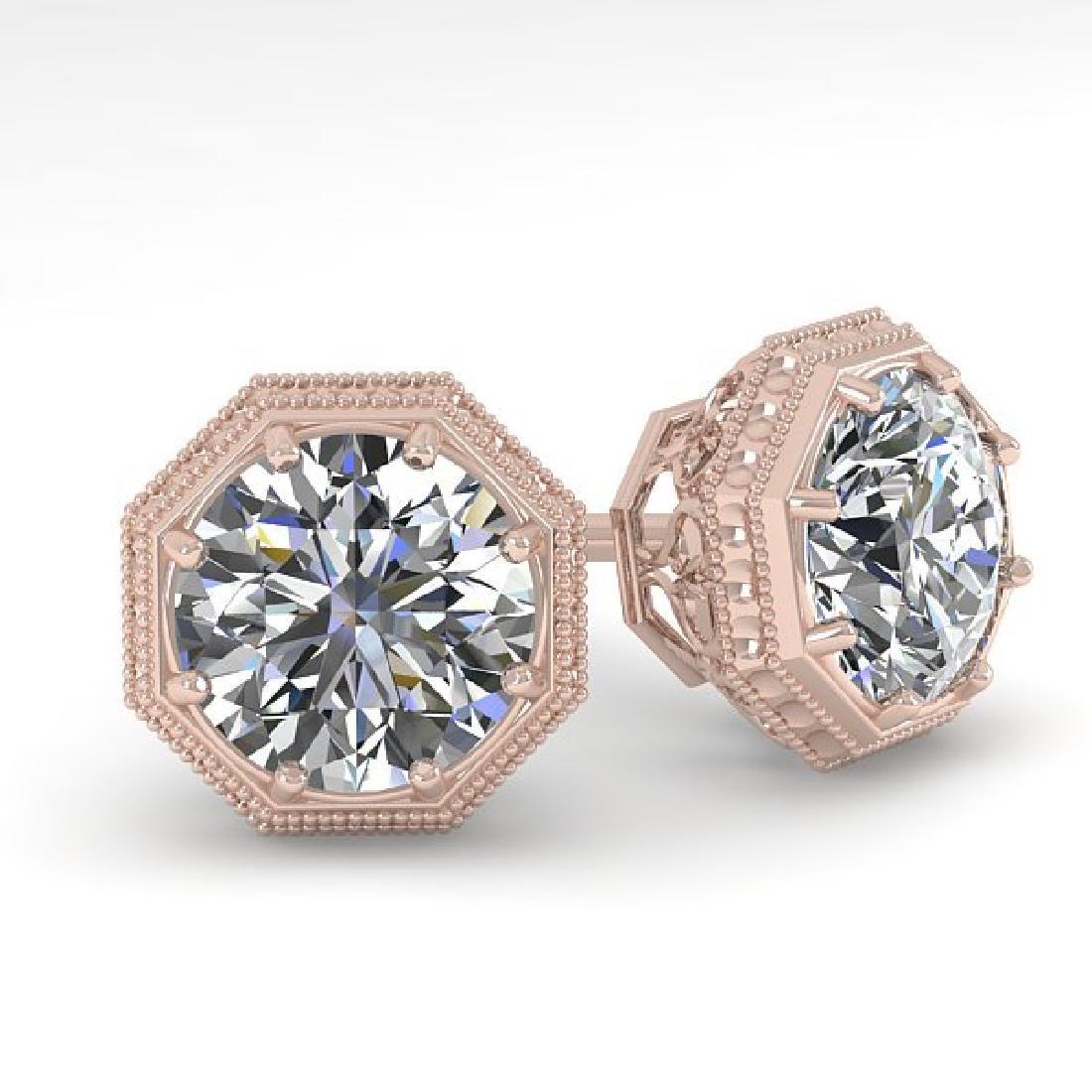 1.53 CTW VS/SI Diamond Stud Solitaire Earrings 18K Rose