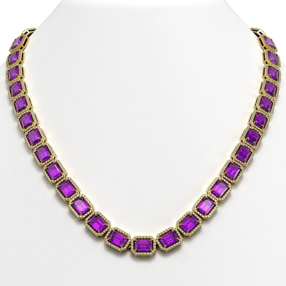 50.99 CTW Amethyst & Diamond Halo Necklace 10K Yellow