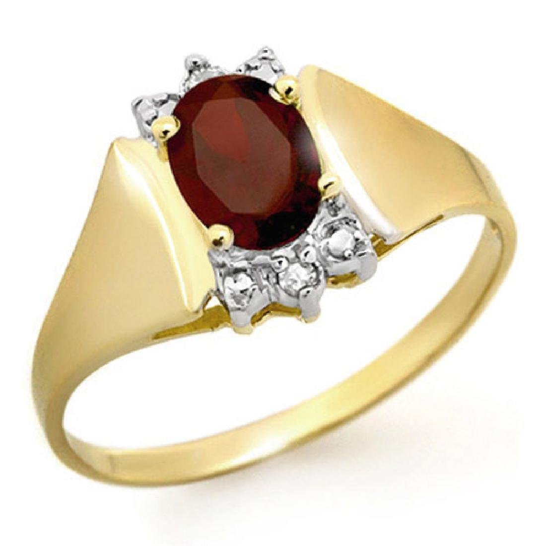 1.03 CTW Garnet & Diamond Ring 10K Yellow Gold