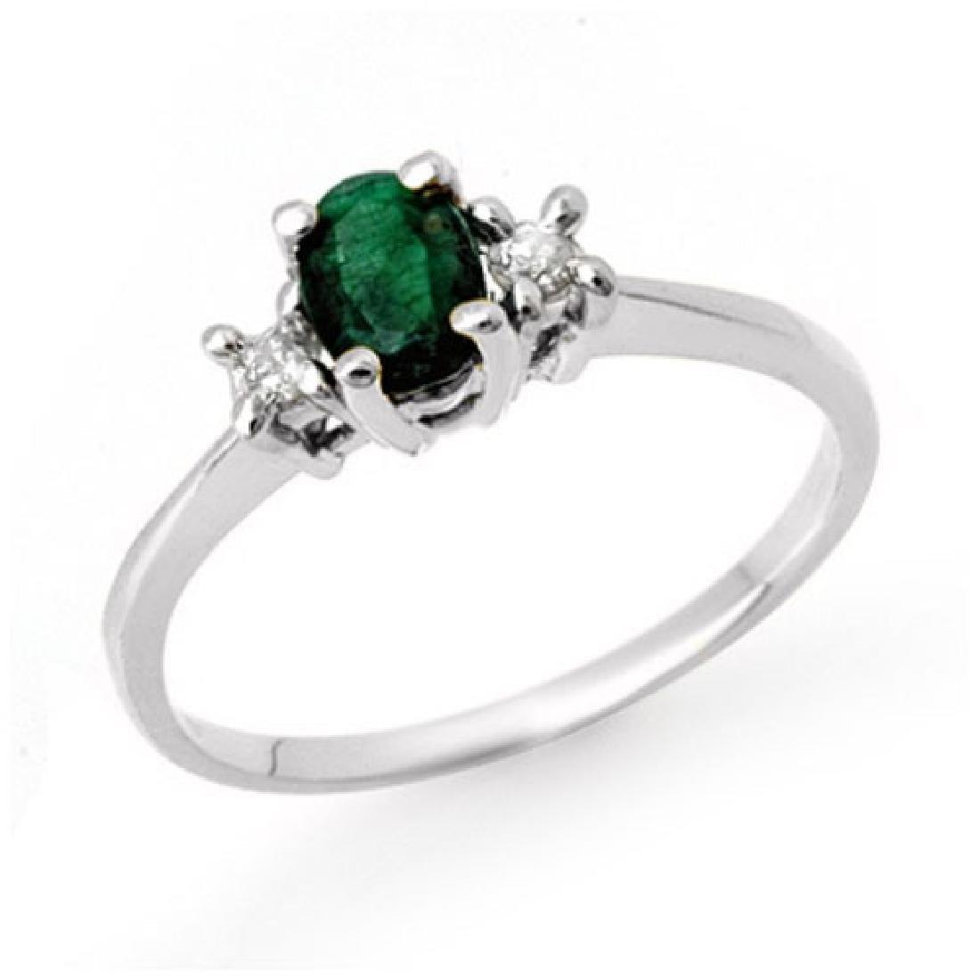 1.04 CTW Emerald & Diamond Ring 10K White Gold