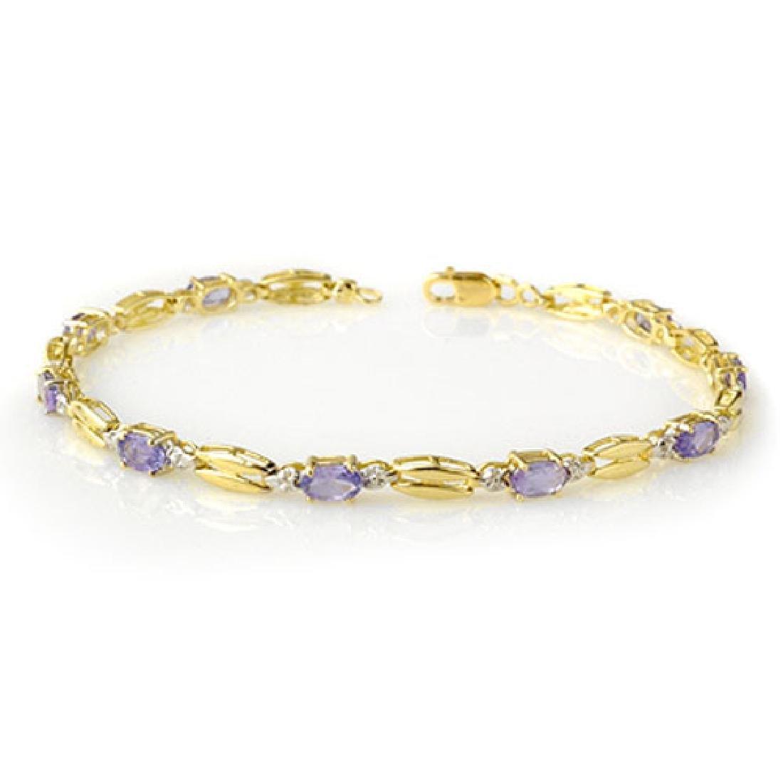2.50 CTW Tanzanite Bracelet 10K Yellow Gold