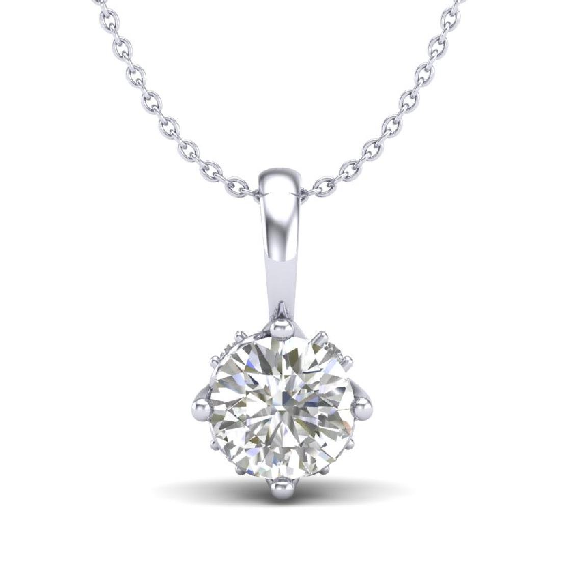 0.62 CTW VS/SI Diamond Solitaire Art Deco Stud Necklace