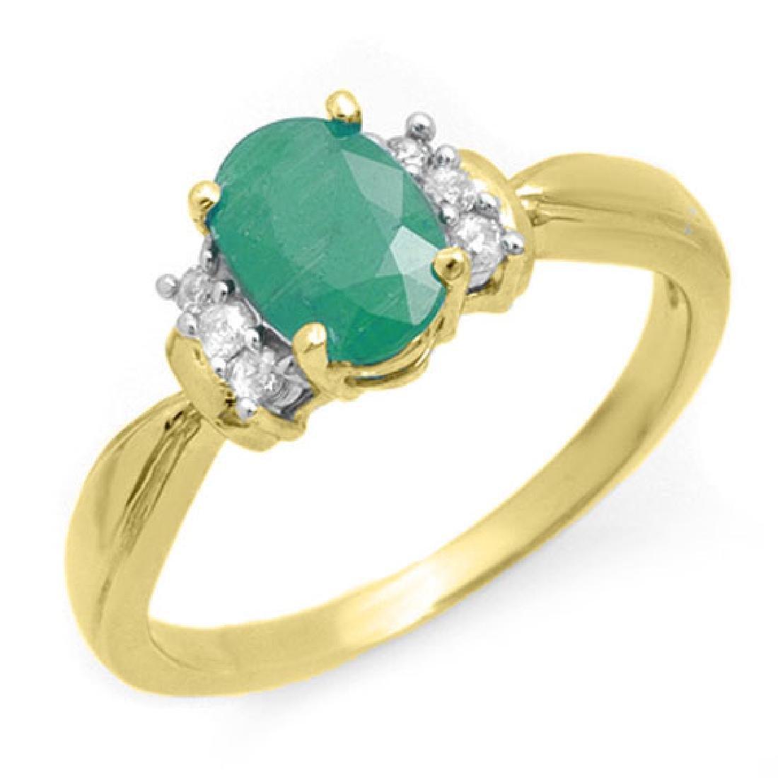 0.96 CTW Emerald & Diamond Ring 10K Yellow Gold