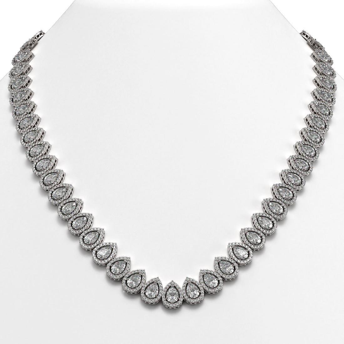 42.11 CTW Pear Diamond Designer Necklace 18K White Gold