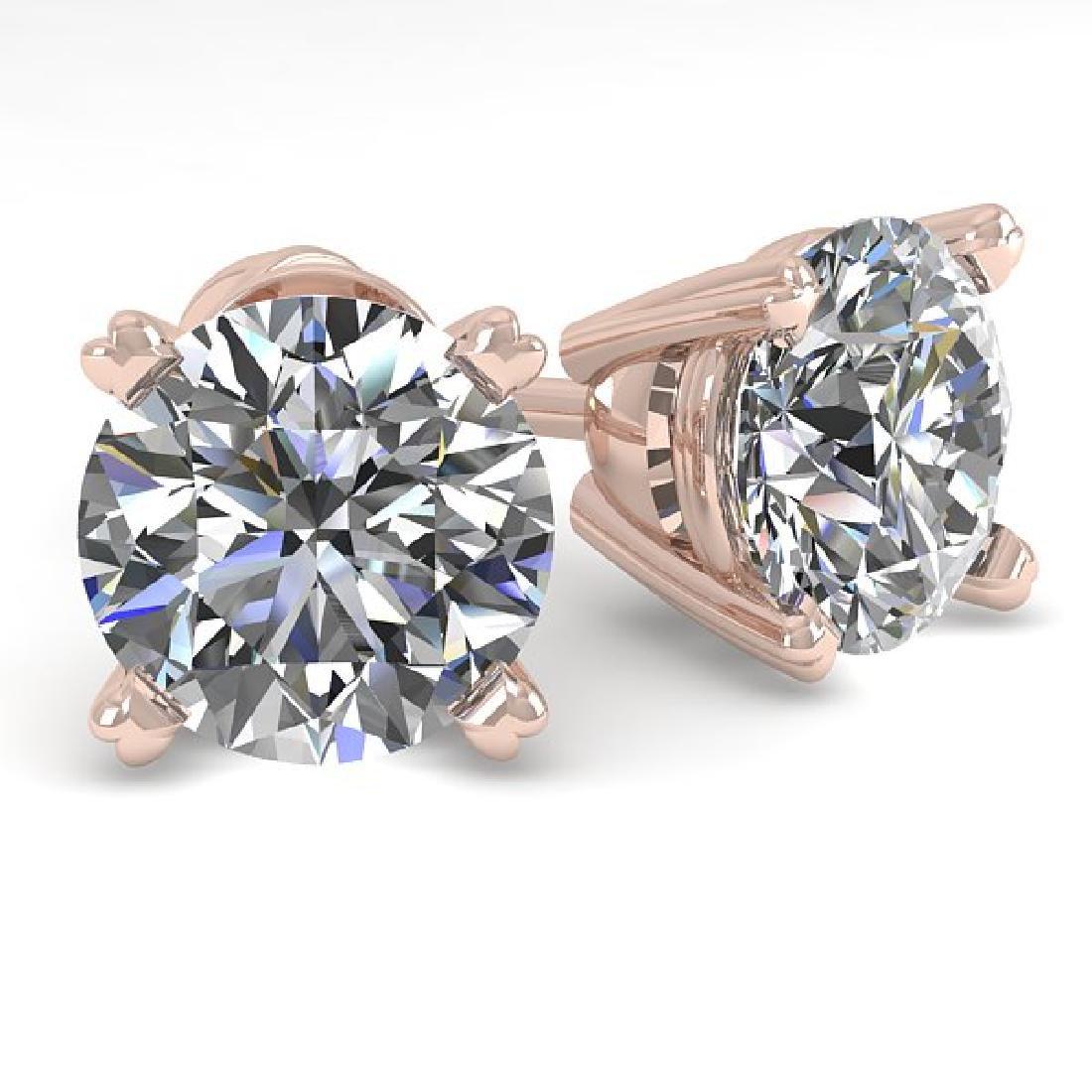2.01 CTW VS/SI Diamond Stud Designer Earrings 14K Rose