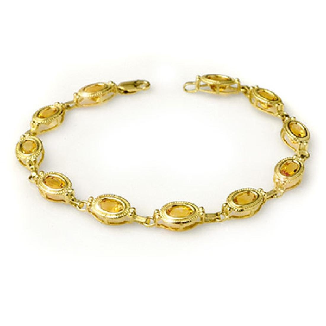 5.05 CTW Citrine Bracelet 10K Yellow Gold