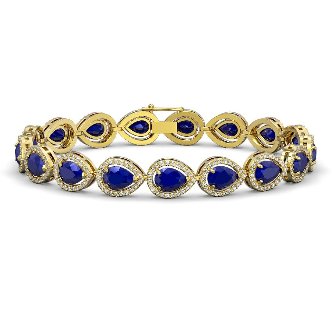 21.69 CTW Sapphire & Diamond Halo Bracelet 10K Yellow