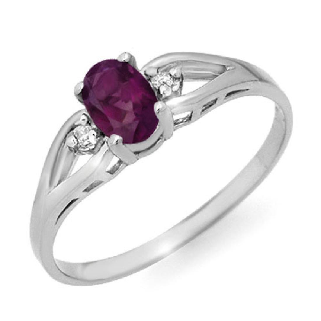 0.53 CTW Amethyst & Diamond Ring 18K White Gold