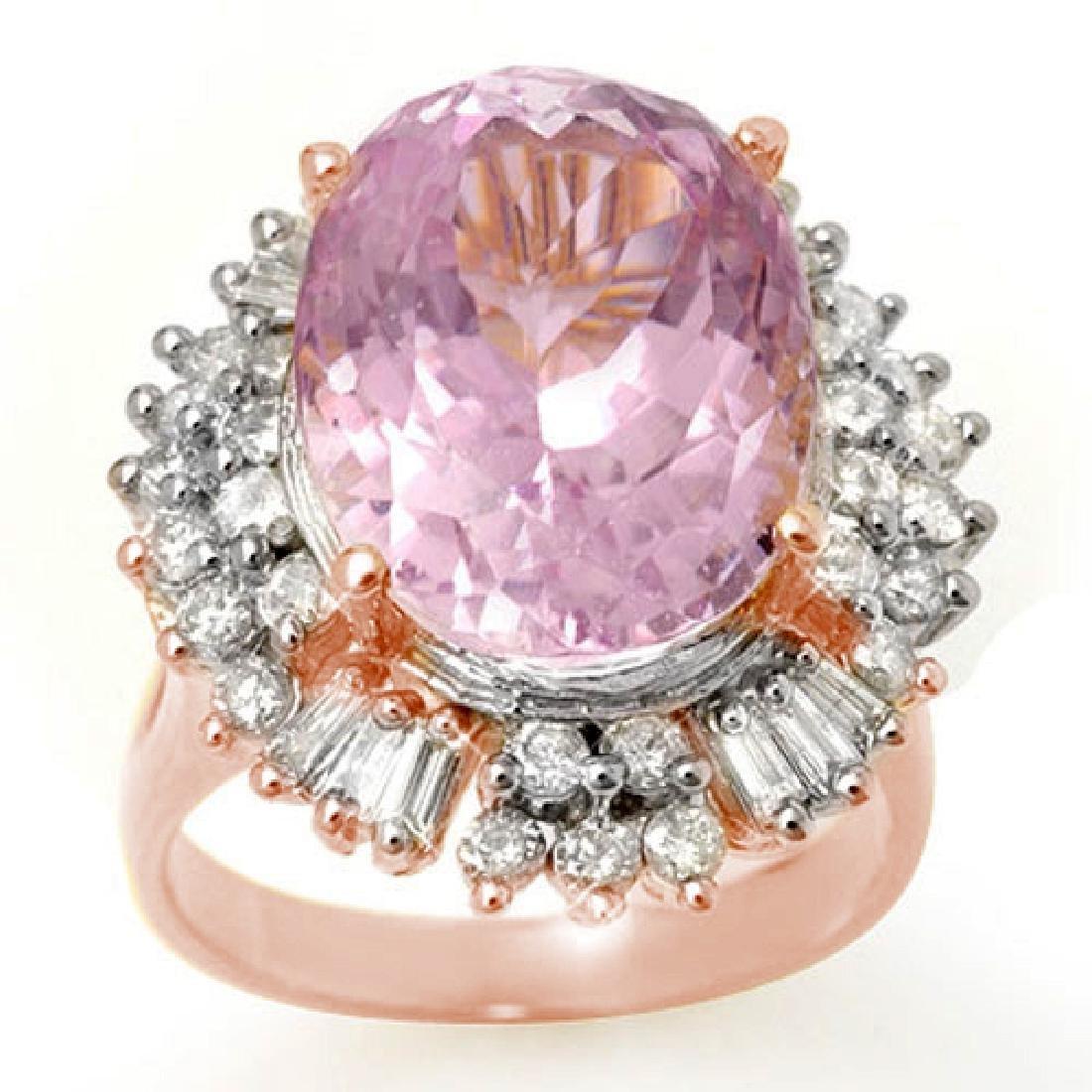 15.75 CTW Kunzite & Diamond Ring 14K Rose Gold