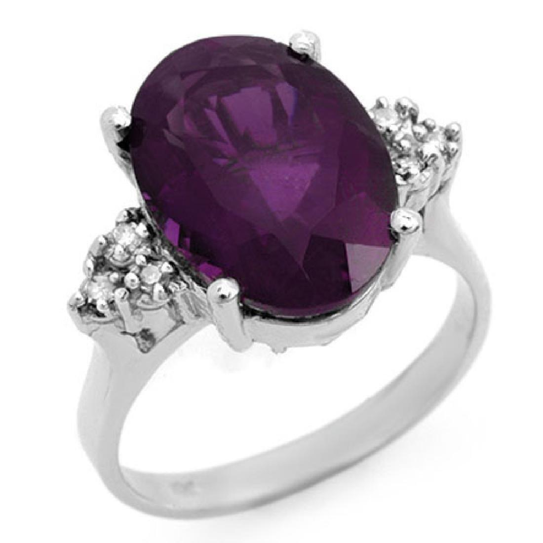 5.15 CTW Amethyst & Diamond Ring 18K White Gold
