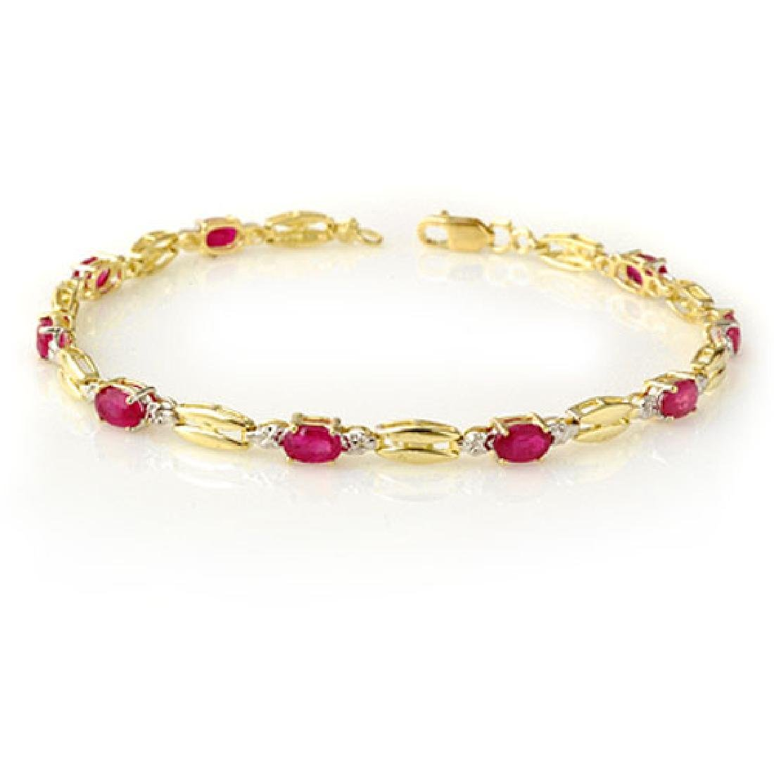 3.25 CTW Ruby Bracelet 10K Yellow Gold