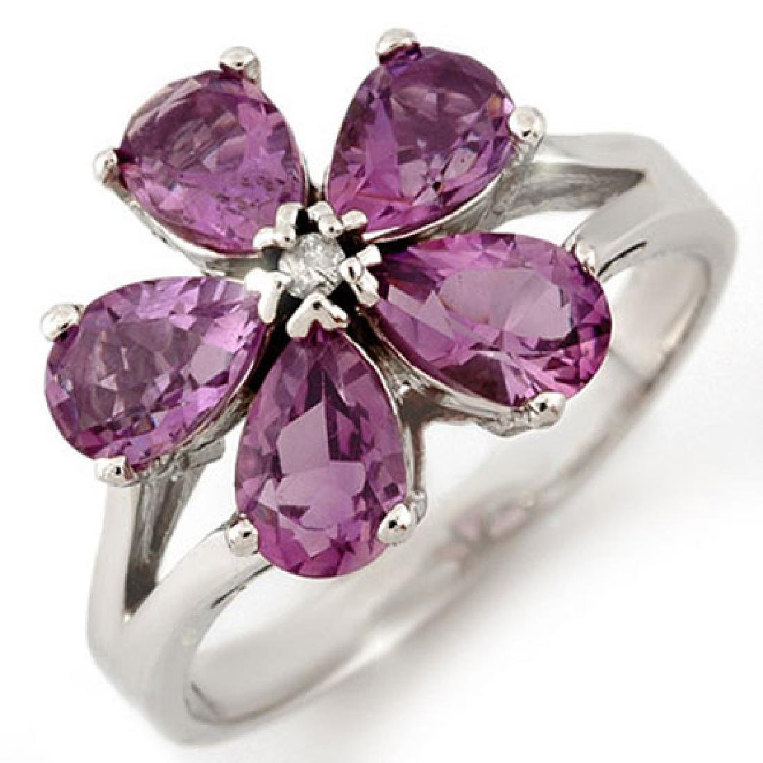 2.52 CTW Amethyst & Diamond Ring 10K White Gold