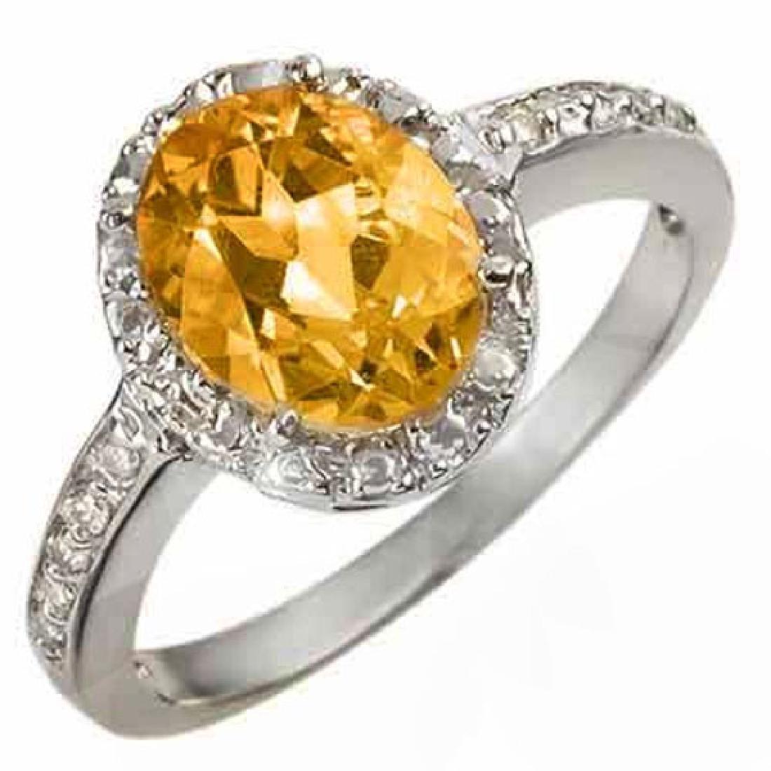 2.10 CTW Citrine & Diamond Ring 10K White Gold