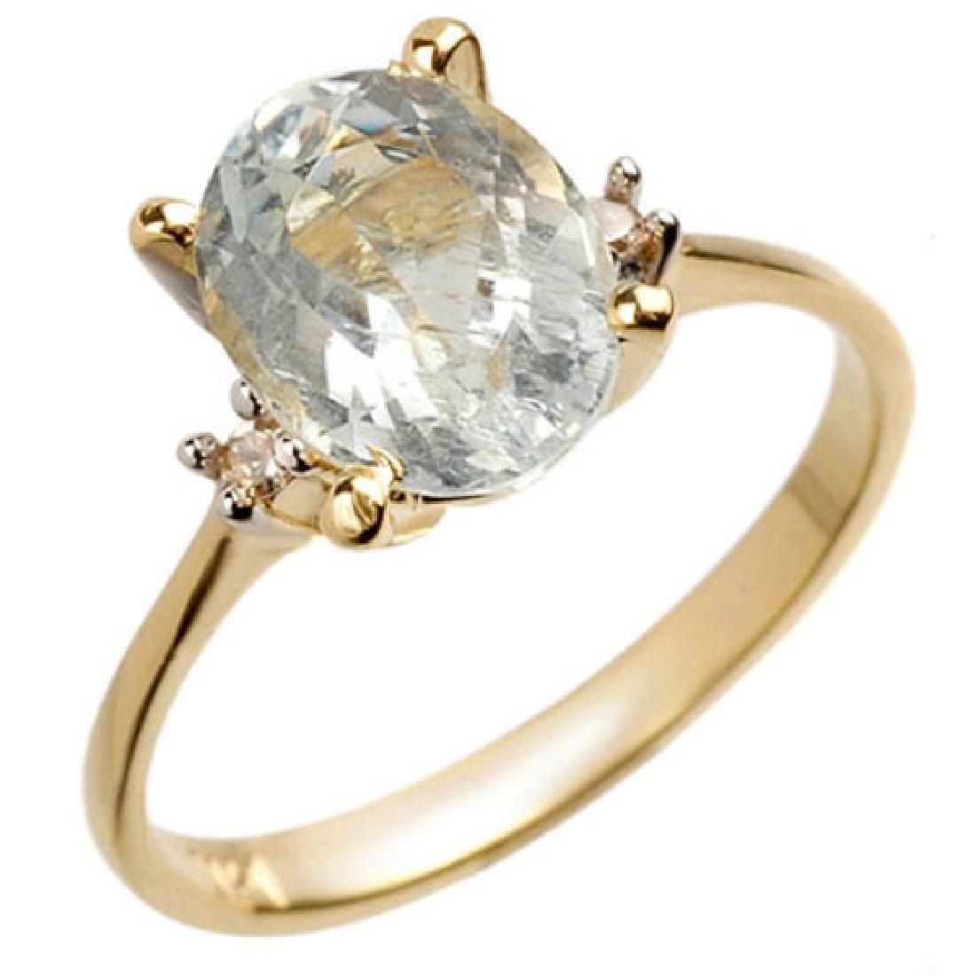 2.04 CTW Aquamarine & Diamond Ring 14K Yellow Gold