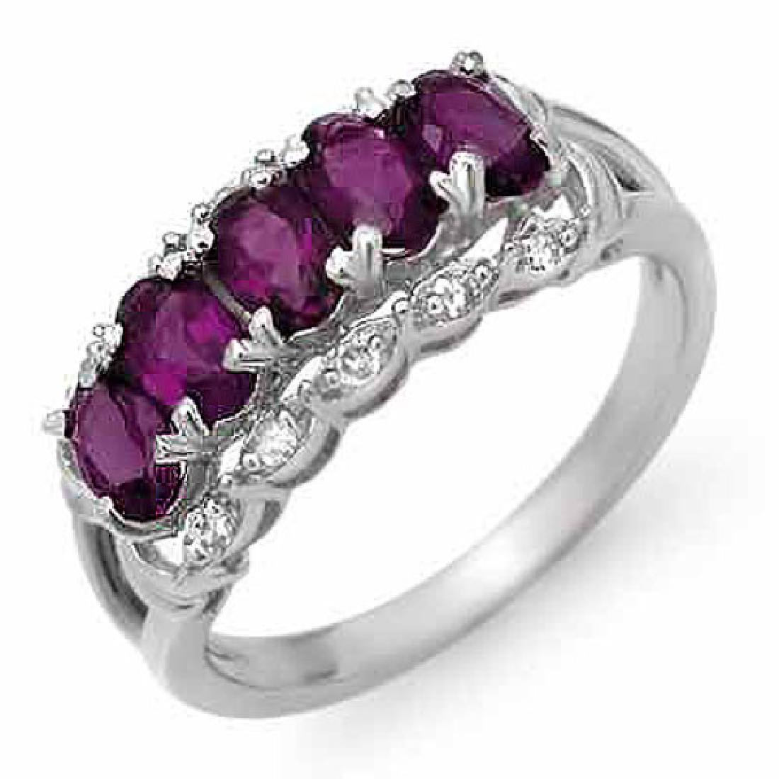 1.65 CTW Amethyst & Diamond Ring 10K White Gold
