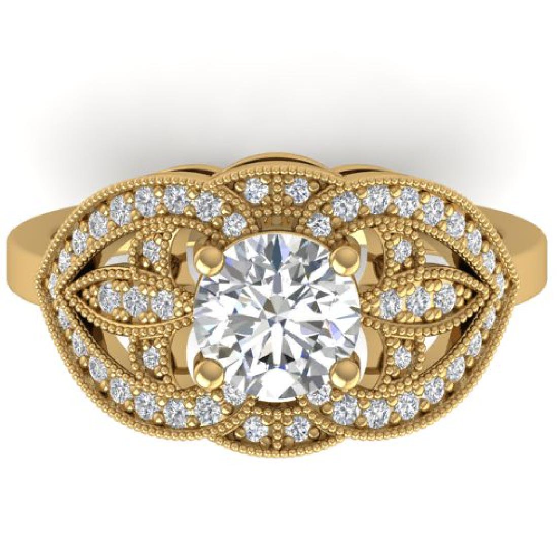 1.5 CTW Certified VS/SI Diamond Art Deco Micro Ring 14K