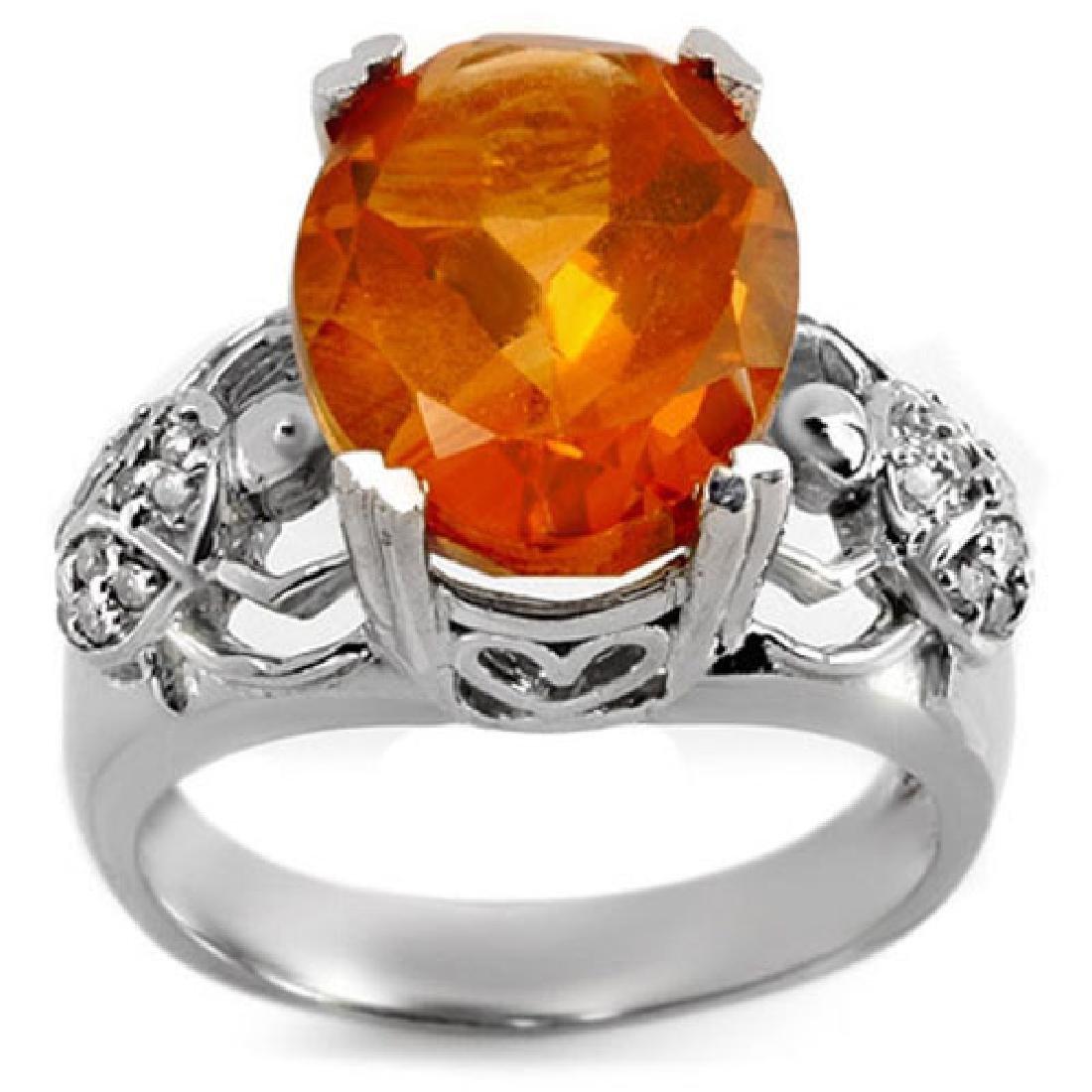 6.20 CTW Citrine & Diamond Ring 10K White Gold