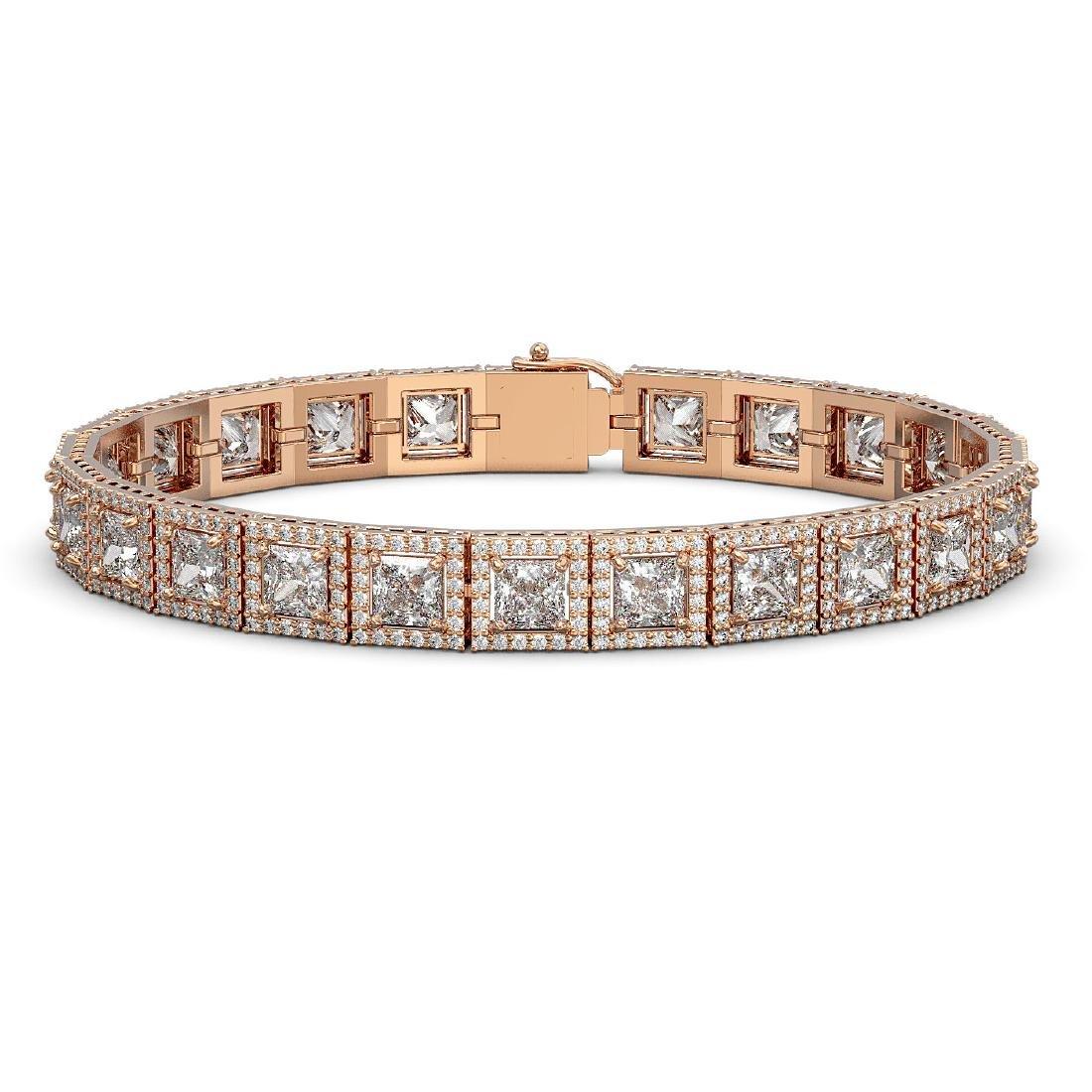 18.24 CTW Princess Diamond Designer Bracelet 18K Rose