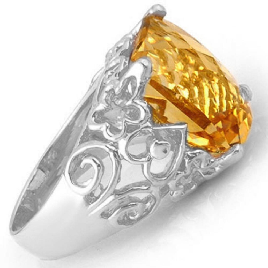 10.03 CTW Citrine & Diamond Ring 10K White Gold