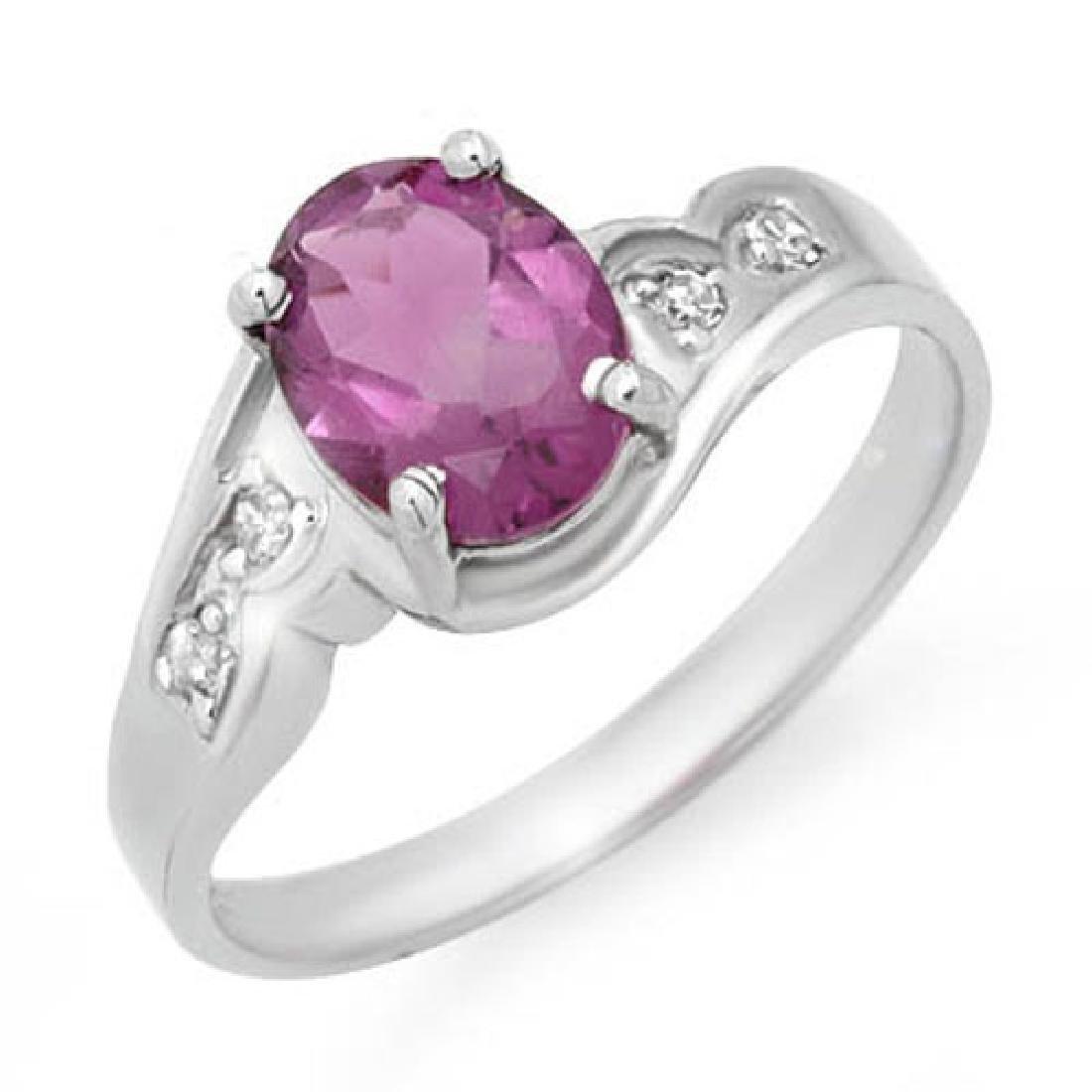 1.26 CTW Amethyst & Diamond Ring 18K White Gold