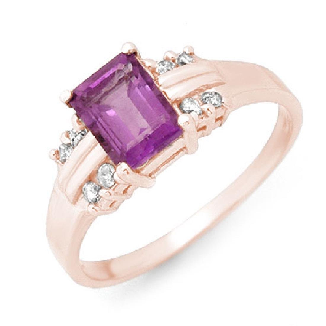 1.41 CTW Amethyst & Diamond Ring 18K Rose Gold
