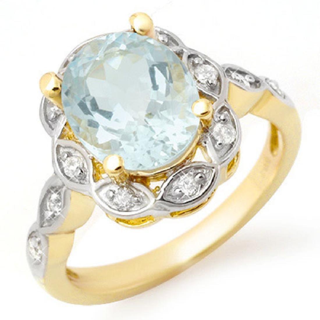 2.65 CTW Aquamarine & Diamond Ring 14K Yellow Gold