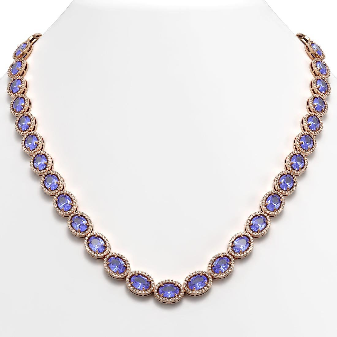 48.65 CTW Tanzanite & Diamond Halo Necklace 10K Rose