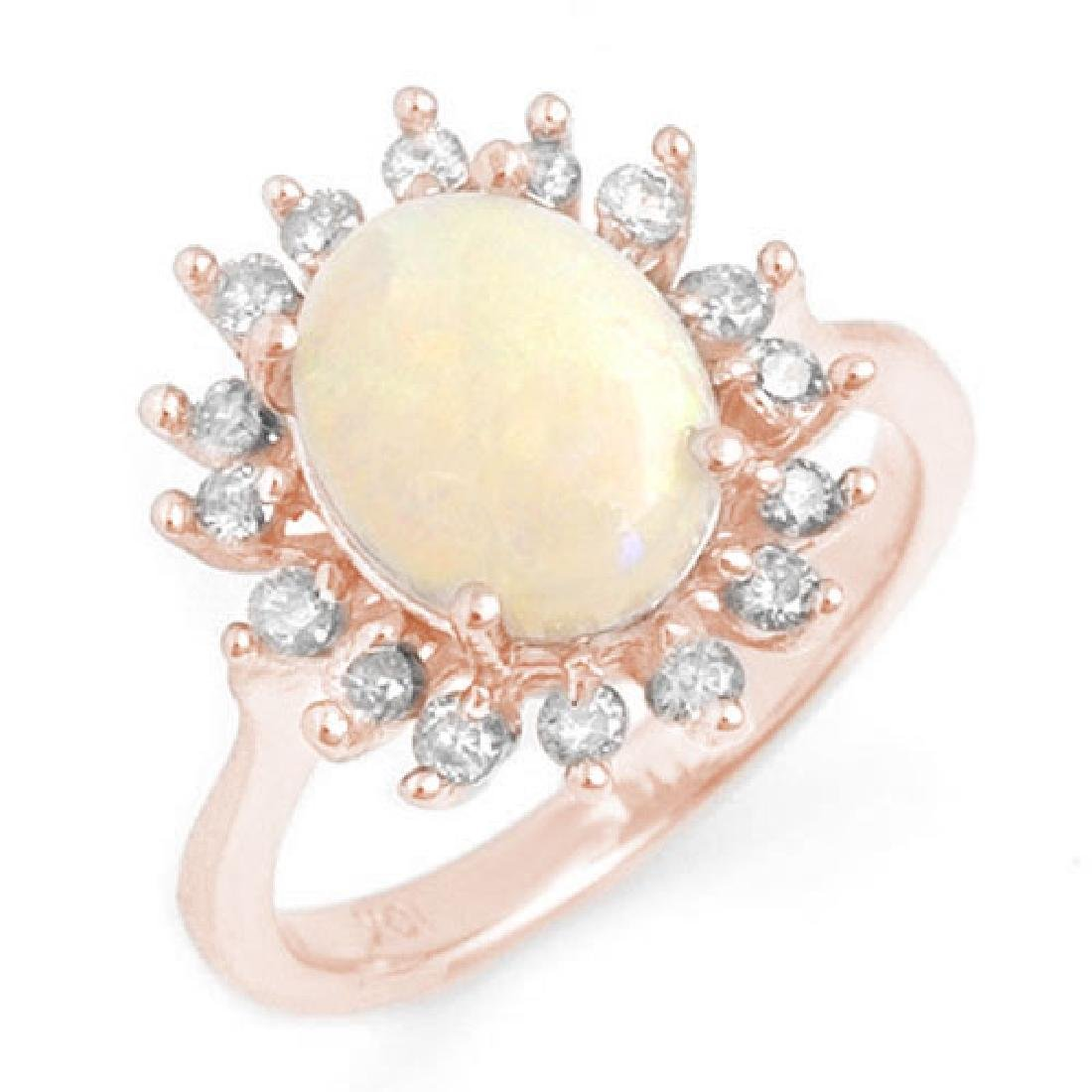 1.78 CTW Opal & Diamond Ring 14K Rose Gold