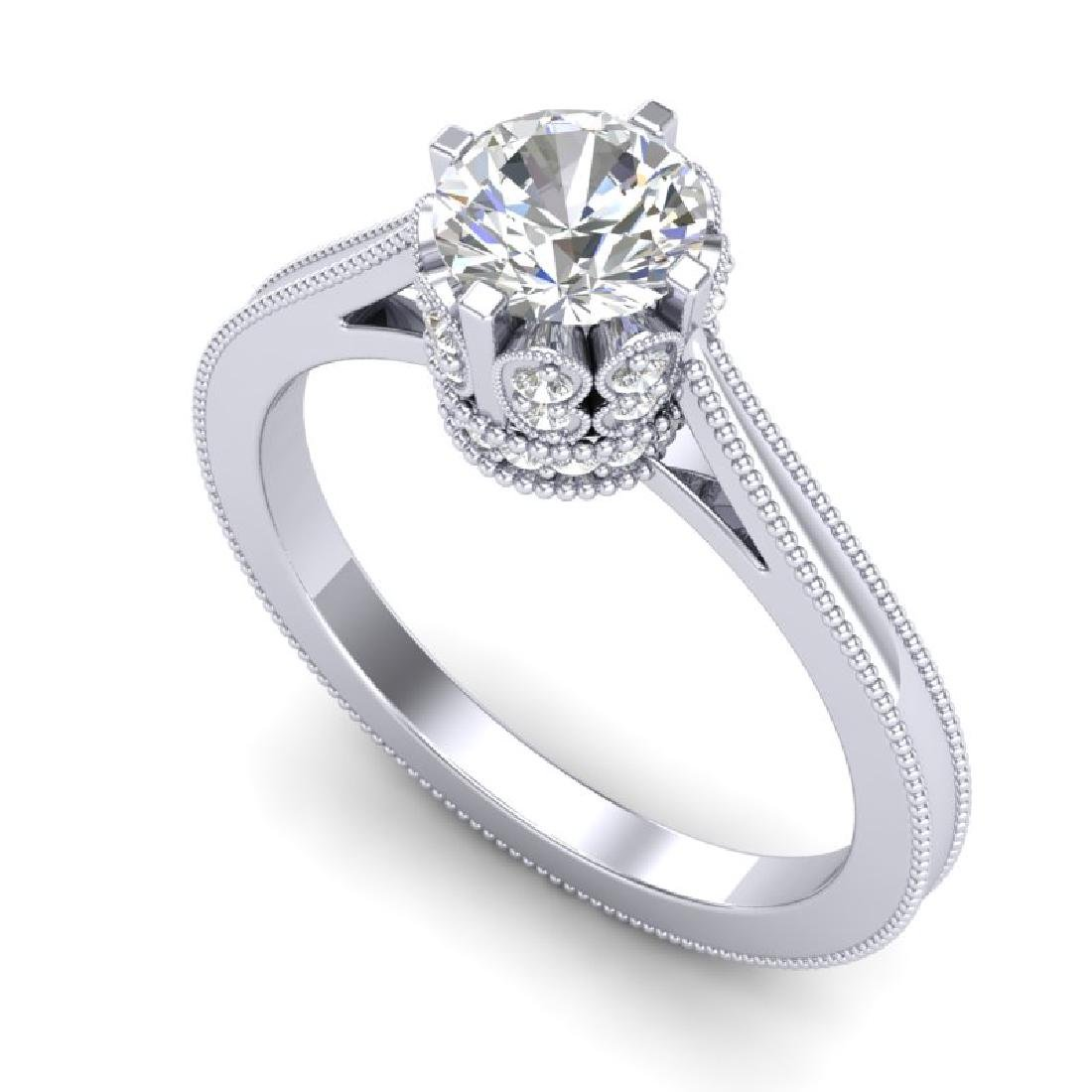 1.14 CTW VS/SI Diamond Art Deco Ring 18K White Gold