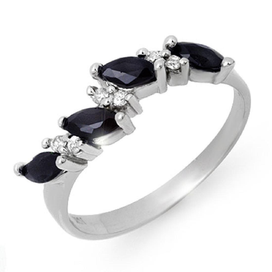 0.80 CTW Blue Sapphire & Diamond Ring 10K White Gold