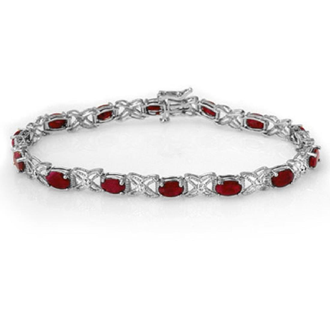 8.55 CTW Ruby & Diamond Bracelet 14K White Gold