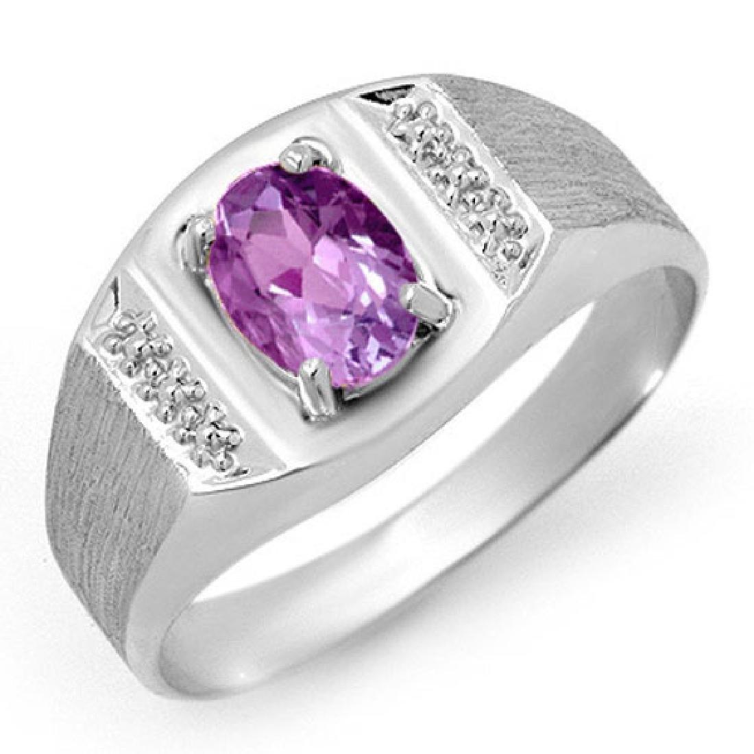 2.0 CTW Amethyst Ring 18K White Gold