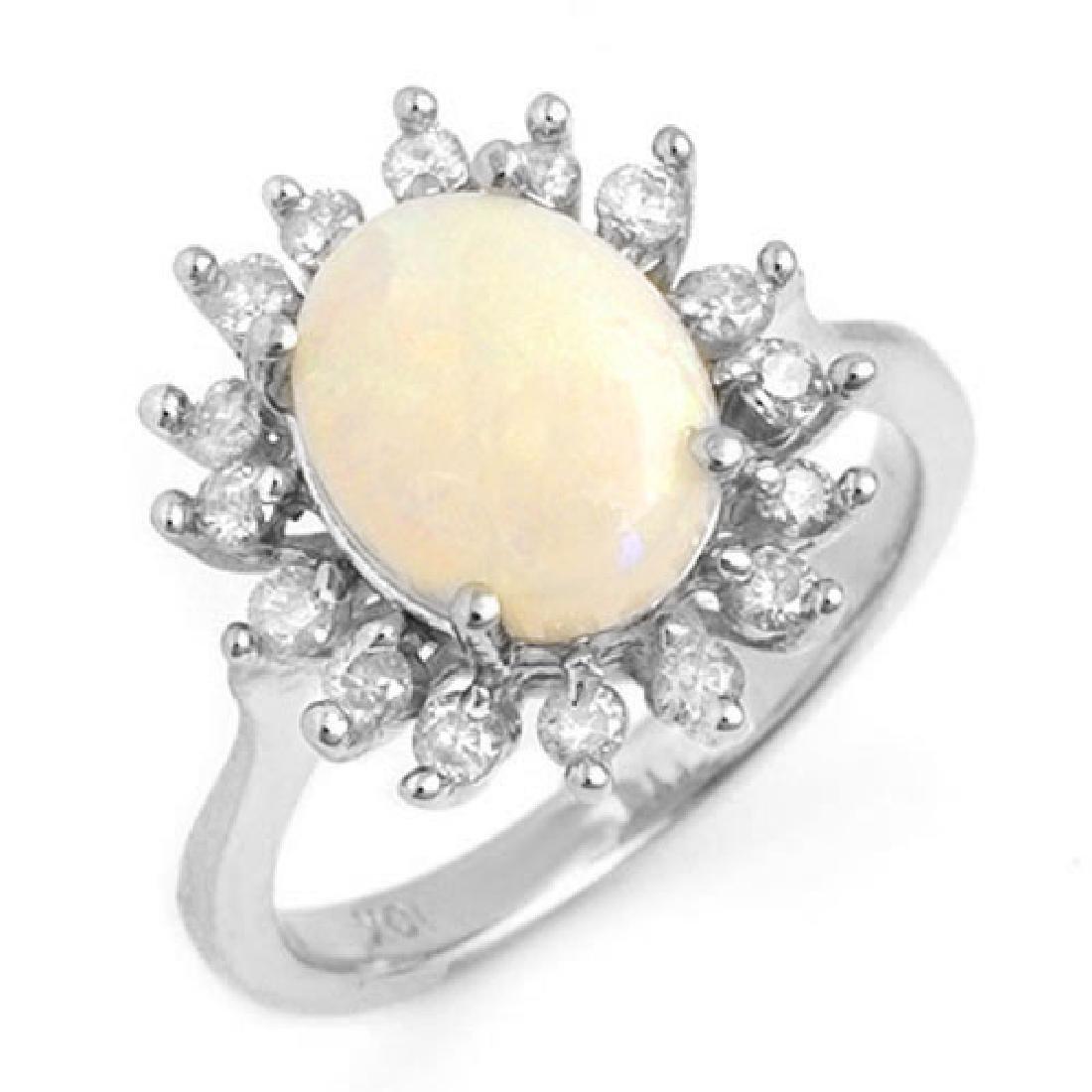 1.78 CTW Opal & Diamond Ring 18K White Gold