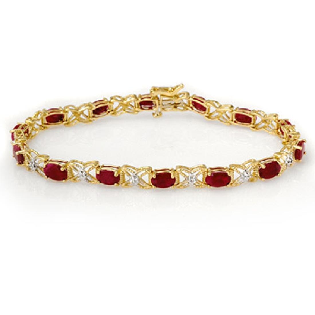 8.55 CTW Ruby & Diamond Bracelet 14K Yellow Gold