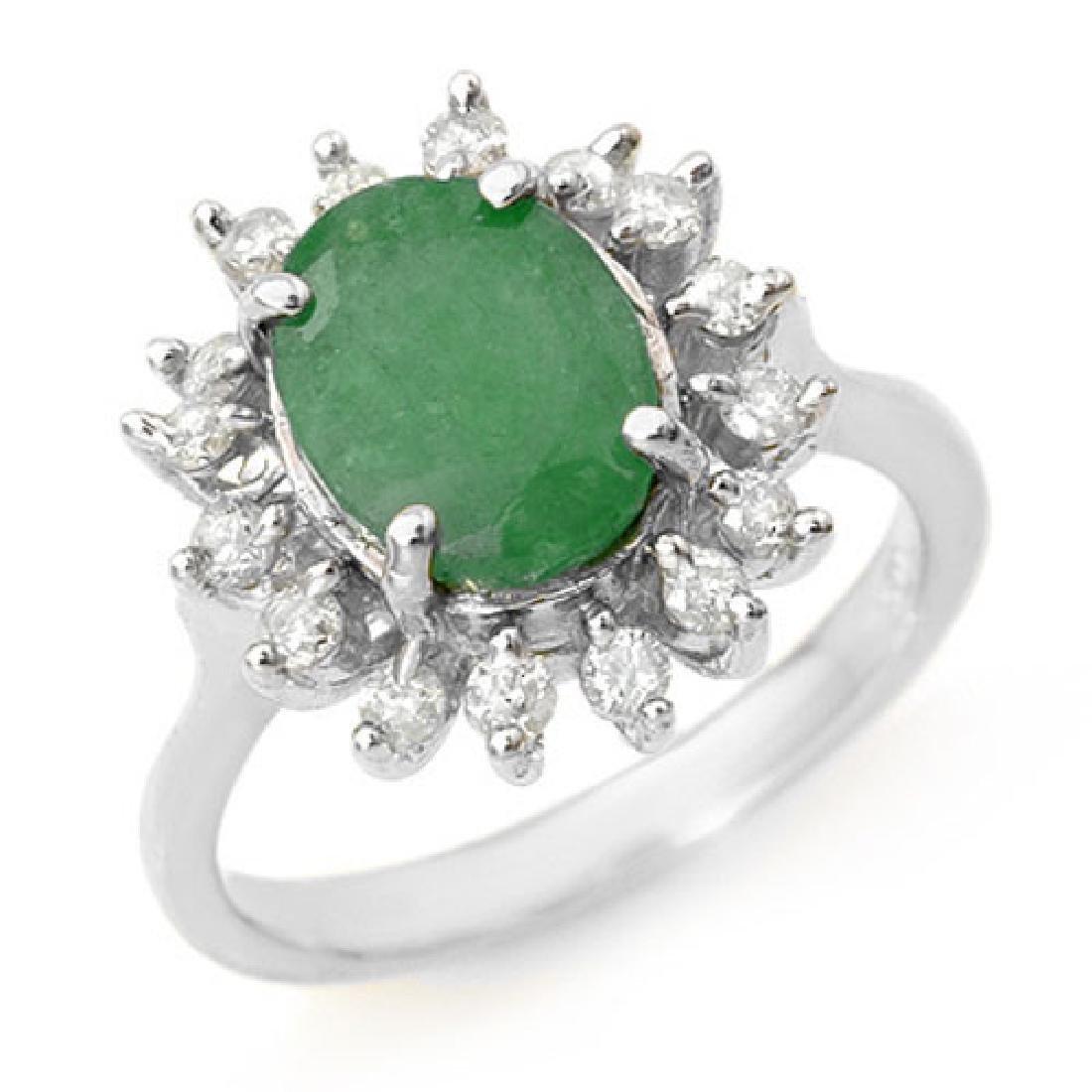 3.10 CTW Emerald & Diamond Ring 10K White Gold