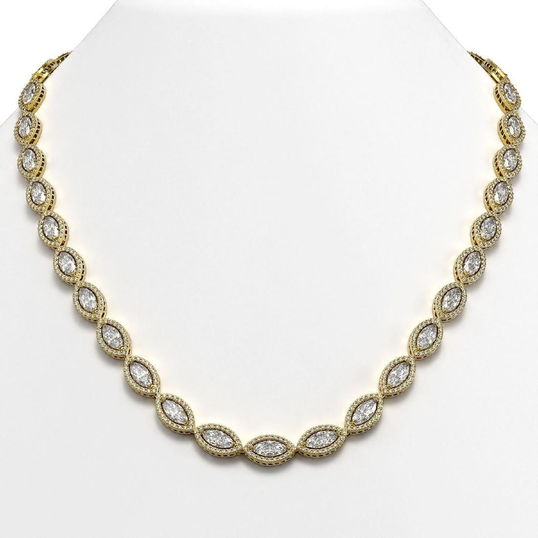 28.12 CTW Marquise Diamond Designer Necklace 18K Yellow