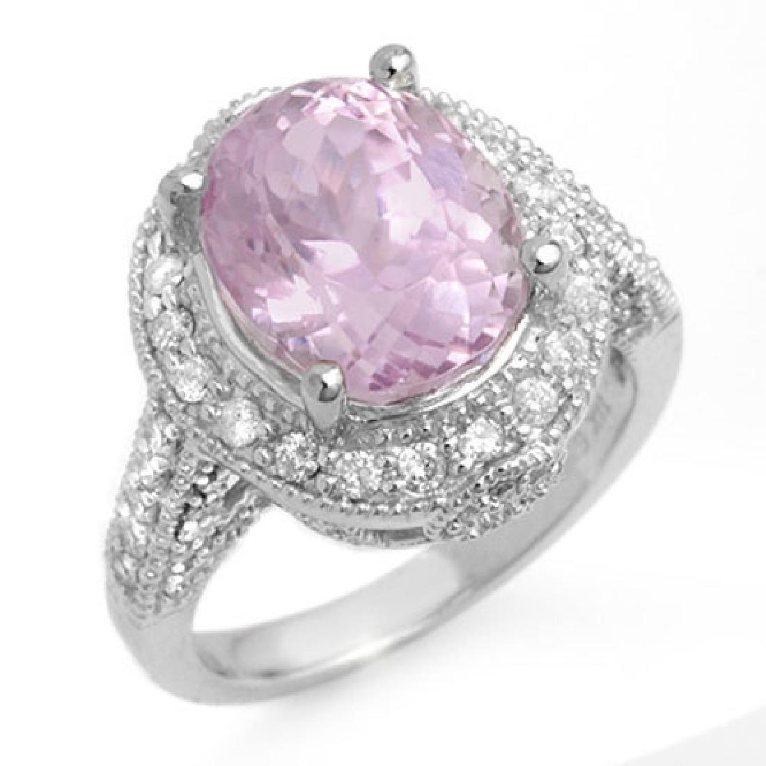 7.0 CTW Kunzite & Diamond Ring 14K White Gold