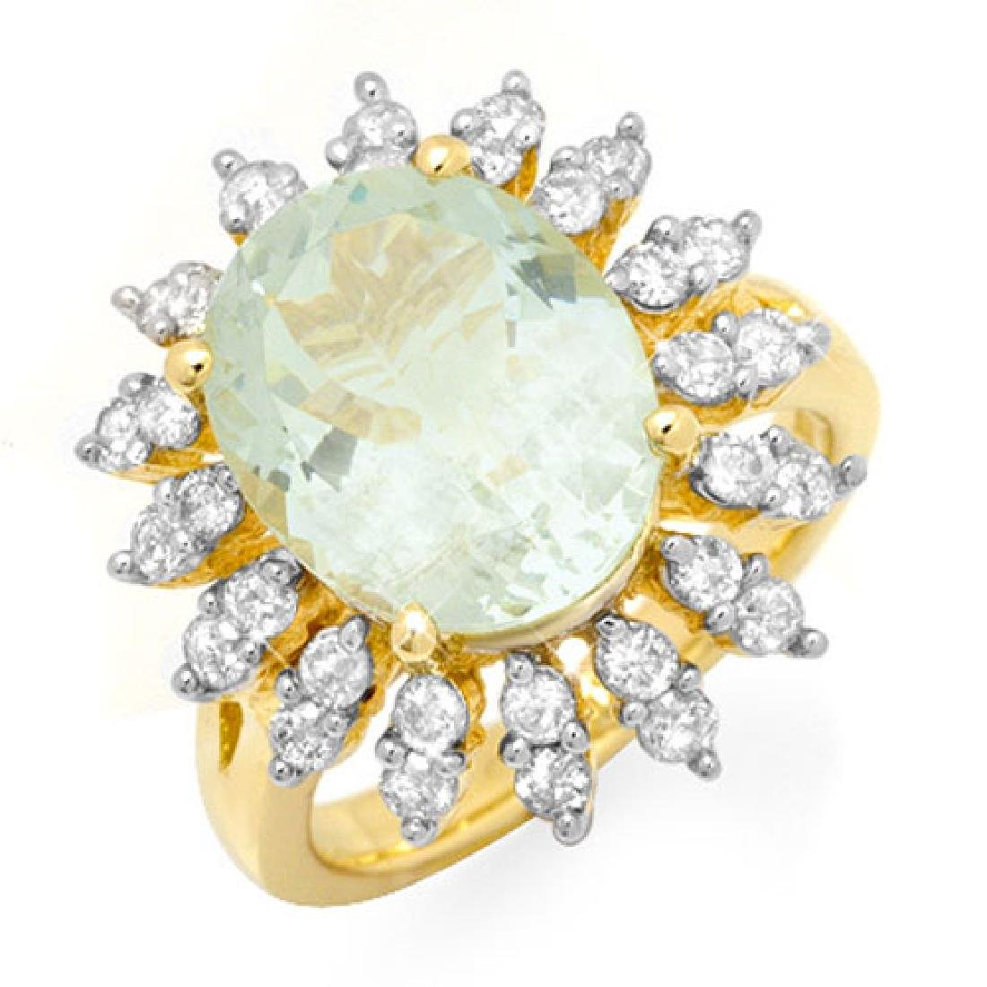 6.08 CTW Aquamarine & Diamond Ring 14K Yellow Gold