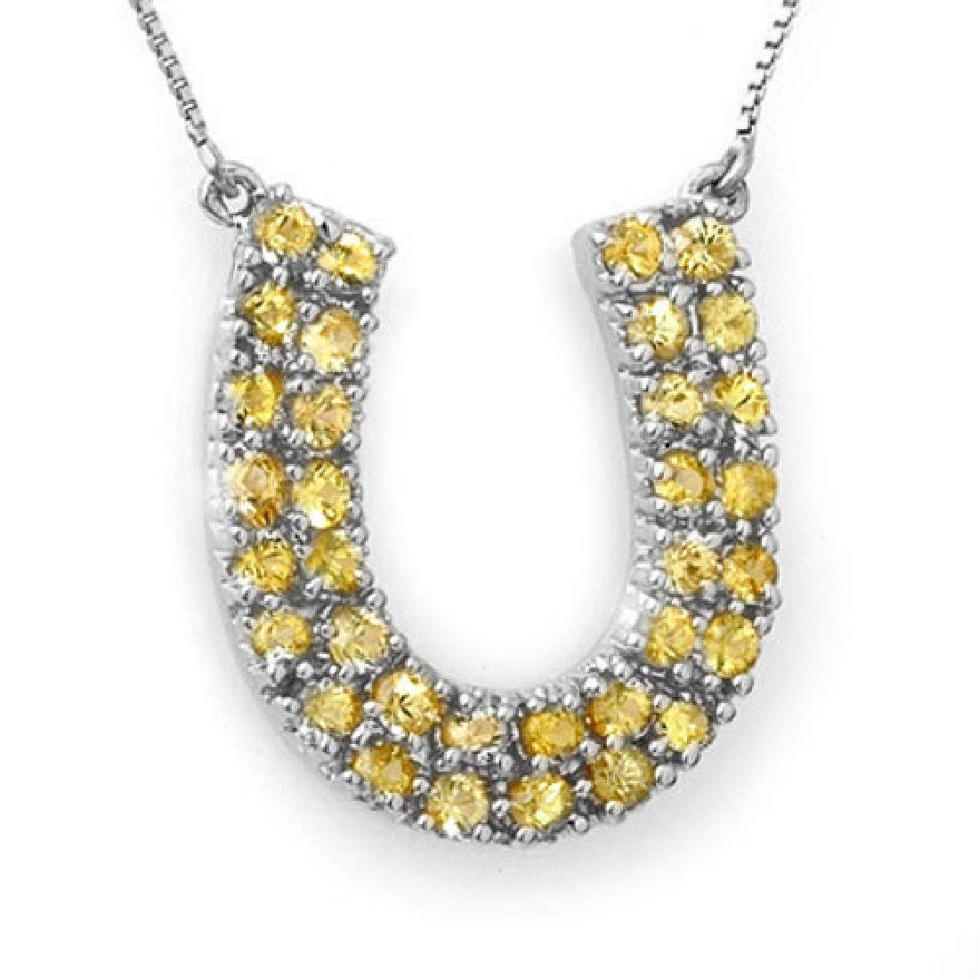 2.0 CTW Yellow Sapphire Necklace 14K White Gold