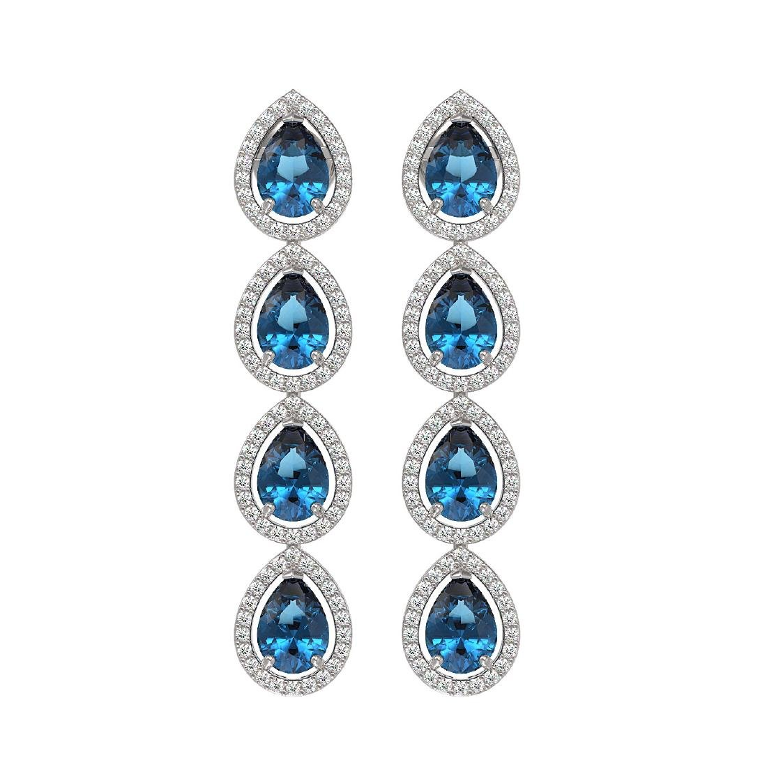 7.81 CTW London Topaz & Diamond Halo Earrings 10K White