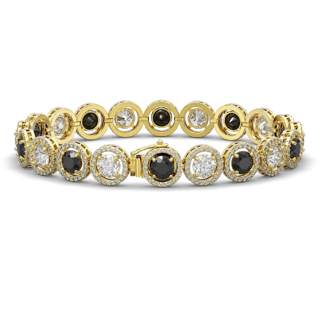 15.47 CTW Black & White Diamond Designer Bracelet 18K - 2