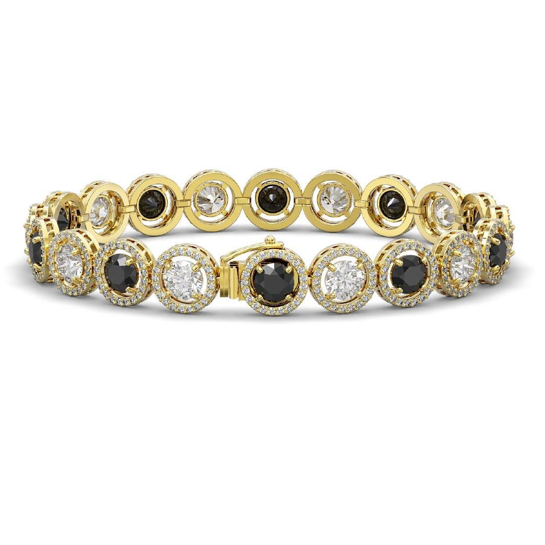 15.47 CTW Black & White Diamond Designer Bracelet 18K - 2