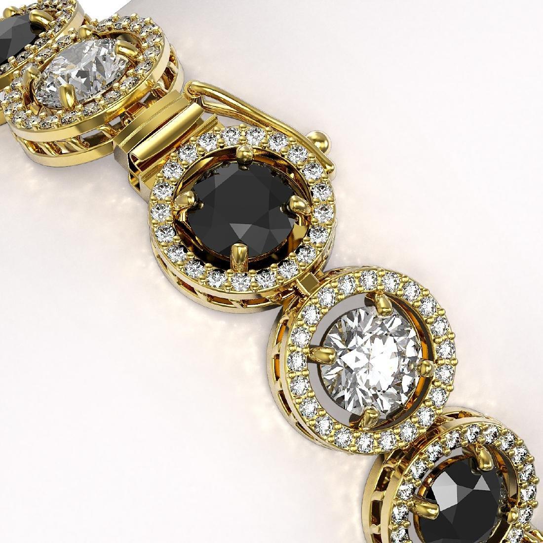 15.47 CTW Black & White Diamond Designer Bracelet 18K - 3