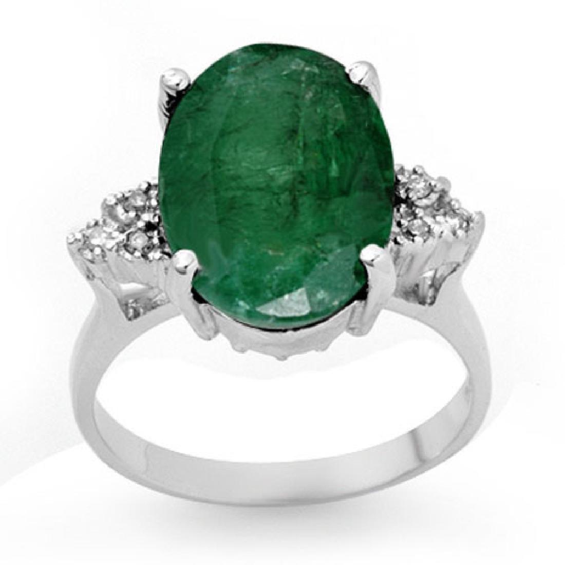 6.35 CTW Emerald & Diamond Ring 10K White Gold