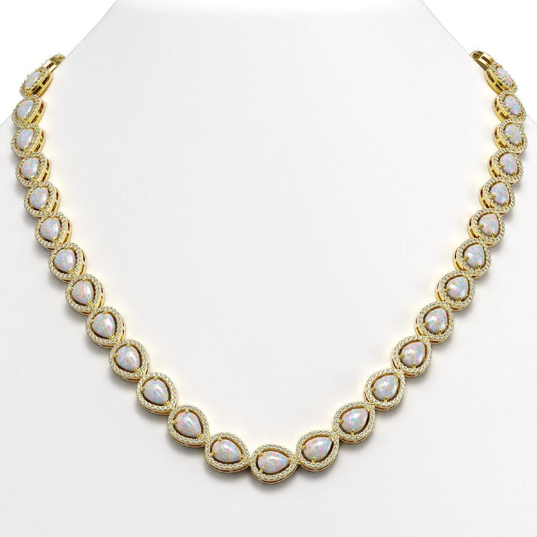 27.93 CTW Opal & Diamond Halo Necklace 10K Yellow Gold