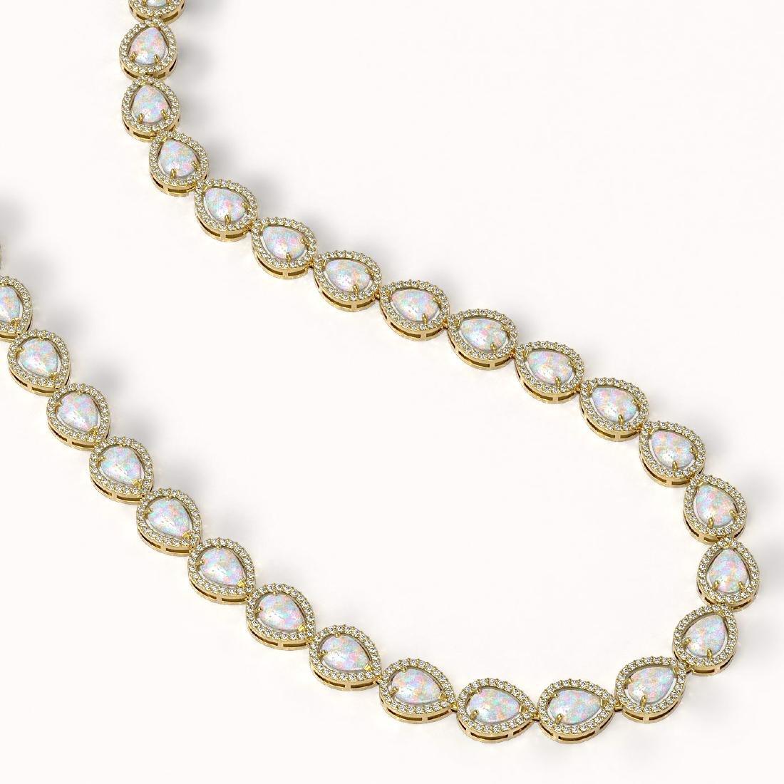 27.93 CTW Opal & Diamond Halo Necklace 10K Yellow Gold - 2