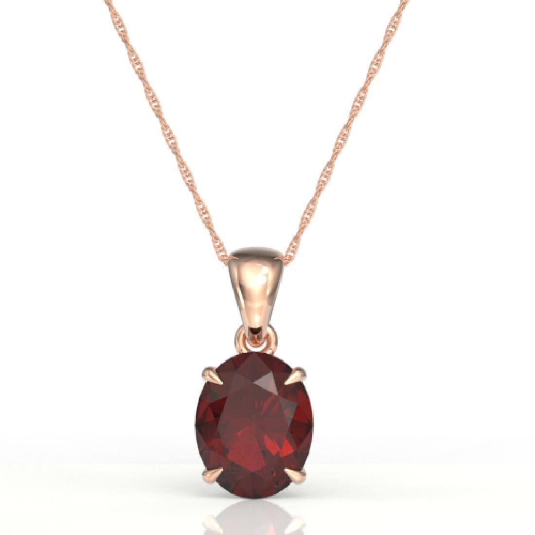 3.50 CTW Garnet Designer Inspired Solitaire Necklace - 2