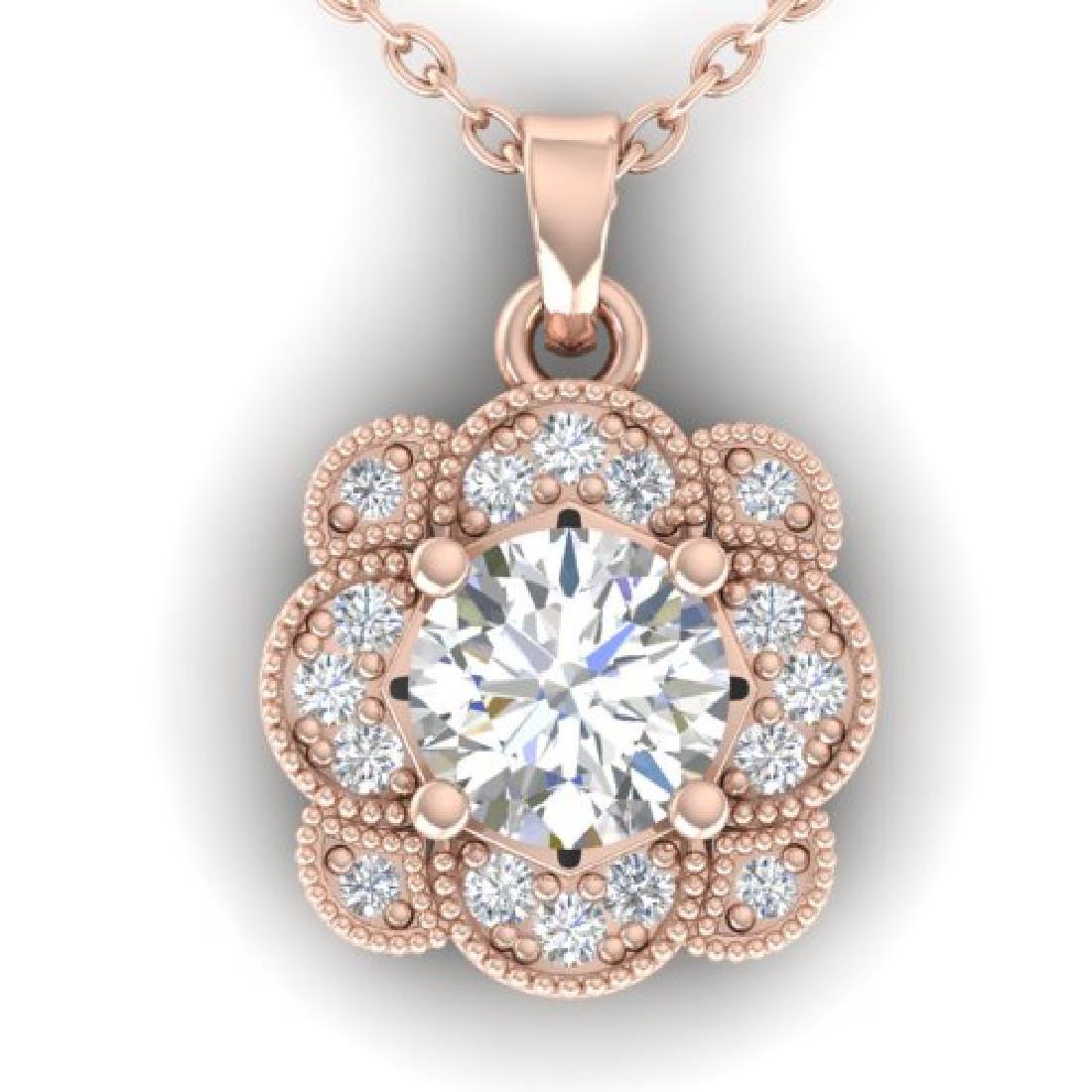 0.75 CTW I-SI Diamond Solitaire Art Deco Necklace 14K